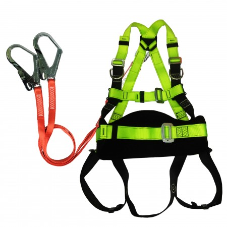 Full body harness with energy absorbing lanyard