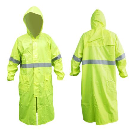 เสื้อคลุมกันฝนติดแถบสะท้อนแสง สีเขียวมะนาว