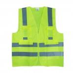 เสื้อกั๊กสะท้อนแสง สีเขียวมะนาว มีกระเป๋า