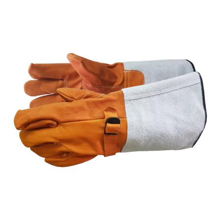 ถุงมือหนังสวมทับถุงมือกันไฟฟ้าดูด